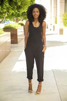 black tank, black capris, gold jewelry, gold shoes