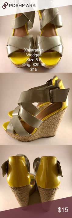 FUN Yellow/Grey Wedges!!! These wedges are SO fun!!! Perfect for Spring and Summer outfits!!! Any outfit you want to add a fun touch to! Xhilaration Shoes Wedges
