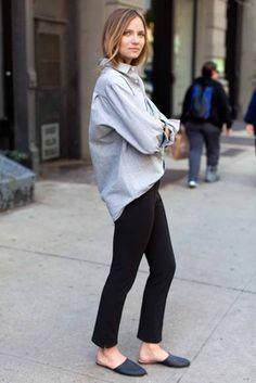 Organic Chambray Unisex Ryan Shirt, black pants + navy mules