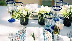 Resultado de imagen para decoracion de bodas azul y plateado campestres