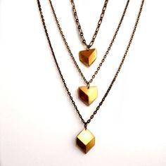 Boho Chic, Chevron, Geometric, Diamond Shaped, Gold Brass, Multi chains, Layered chains, Elegant, Trendy, Modern, Contemporary necklace