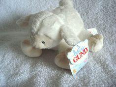 "BABY GUND Cammy Rattle Lamb White sheer bow SMALL 5"" NEW Soft plush HTF baby girl or boy toys"