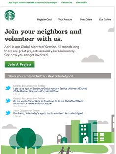 """Starbucks """"Extra Shot of Good"""" campaign promo with live tweets from real customers adding a powerful layer of social proof to the email."""