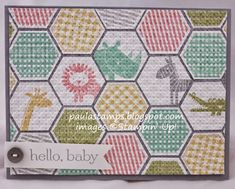 handmade baby card from Stampin' with Paula: Six Sided hexagon punch quilt ... some with cute animal images ... some with stamped patterns ... Stampin' Up!