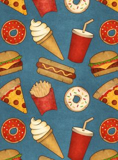 #food #fastfood #pattern #wallpaper #bue