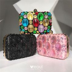 Amazing / Unique Rhinestone Square Clutch Bags 2020 Pink Candy, Color Negra, Evening Bags, Crystal Rhinestone, Hot Pink, Coin Purse, Handbags, Purses, Crystals