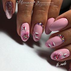 Pink Nail Art, Toe Nail Art, Pink Nails, Gel Nails, Flower Nail Designs, Pretty Nail Designs, Nail Polish Designs, Nail Art Designs, Cute Nails