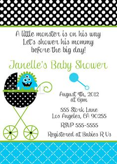 Monster Baby Shower Invitation - For Boy or Girls. $10.00, via Etsy.
