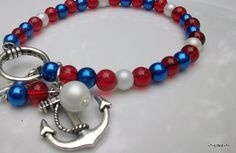 Anchor red white & blue Nautical Jewelry / eight by Obsidianrain