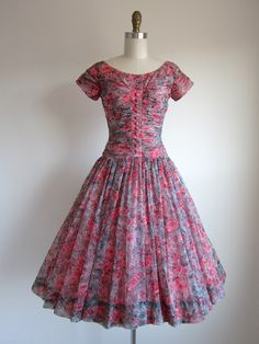 1950s Pink Floral Chiffon Dress