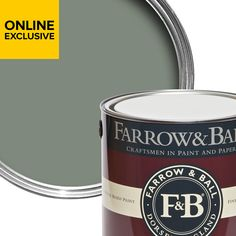 Farrow & Ball Estate emulsion paint is a sophisticated choice for interior walls and ceilings – this tin covers up to per litres on average. Dining Room Colors, Dry Well, Farrow Ball, Quick Dry, Coffee Cans, Craftsman, Green, Painting, Colours