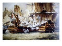 Battle of Trafalgar. High quality vintage art reproduction by Buyenlarge. One of many rare and wonderful images brought forward in time. I hope they bring you pleasure each and every time you look at Painting Prints, Canvas Prints, Art Prints, Canvas Art, Duck Boat Blind, Bateau Pirate, Old Sailing Ships, Sailing Boat, Master And Commander