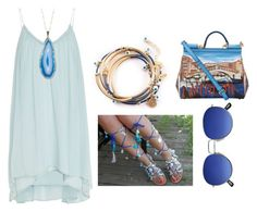 """Beachy Blues"" by jgirlsan ❤ liked on Polyvore featuring Elizabeth and James, Valerie Nahmani Designs and Dolce&Gabbana"