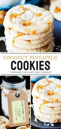 Coconut Pineapple Cookies are thick and chewy, you won't be able to stop at one! This homemade cookie mix is a great gift idea for Christmas in July. Package the master mix with some simple mix-ins in charming jars for an easy Christmas in July dessert! Save this pin!
