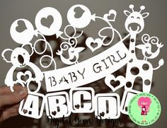 Baby Girl Papercut Template SVG / DXF Cutting File For Cricut / Silhouette & PDF Printable For Hand Cutting Download Commercial Use by DigitalGems on Etsy