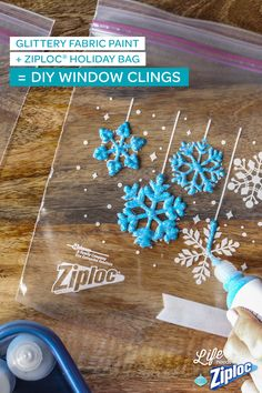This easy craft is a fast cure for cabin fever (really, we did it in under a minute). Let kids trace the snowflake pattern on Ziploc® holiday bags with puffy fabric paint. Dry overnight, peel, and stick to windows for an indoor winter wonderland!