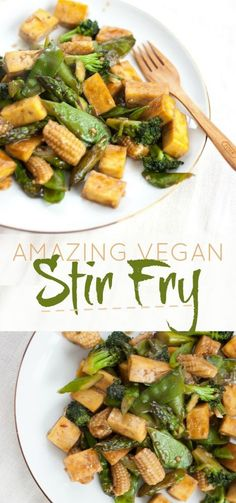 Amazing Vegan Stir Fry | Produce On Parade - Fresh veggies sauteed in a delicious and easy homemade stir fry sauce marry with baked tofu so golden brown that even the pickiest eaters will love this dish.