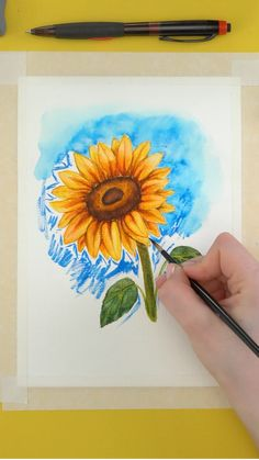 Flower Art Drawing, Painting & Drawing, Watercolor Art Lessons, Watercolor Paintings, Cool Art Drawings, Diy Canvas Art, Art Tutorials, Art Projects, Ireland Landscape
