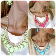 SHIPS TODAY Stone and Crystal Statement Necklace Earrings Set , neon, aqua blue, fuchsia gemstones, bib style. $26.00, via Etsy.