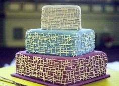 Another three-tier wedding cake with unique abstract design.