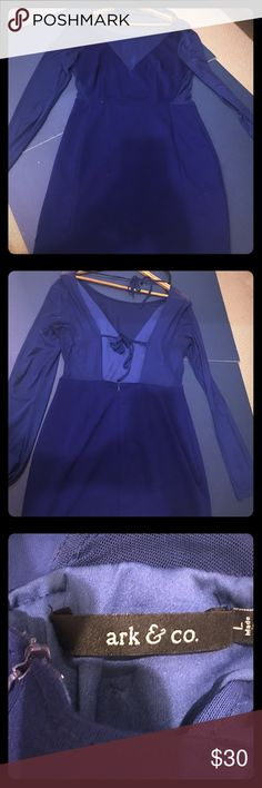 Dark Blue Dress Sexy Blue Dress with sheer arms and sherry around waist and two ties in the back. Ark & Co Dresses Midi