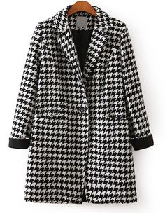 Black White Long Sleeve Houndstooth Coat 22.50