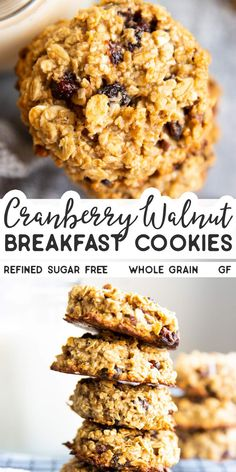 Whip up a batch of these Cranberry Walnut Oatmeal Breakfast Cookies if you're in need of a quick and healthy snack for the kids. They are refined sugar free, gluten free (if using certified gf oats) and made with all wholesome ingredients. Oatmeal Breakfast Cookies, Healthy Oatmeal Cookies, Breakfast Cookie Recipe, Sugar Free Oatmeal Cookies Recipe, Healthy Baking, Healthy Desserts, Dessert Recipes, Quick Healthy Snacks, Healthy Cookie Recipes