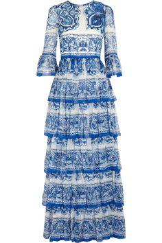 DOLCE & GABBANA Printed ruffled silk-chiffon gown #Dolce&Gabbana
