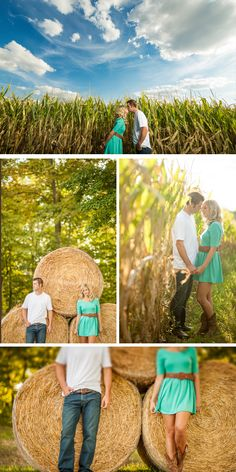 Love these pictures in front of hay bales!| ben & les photography