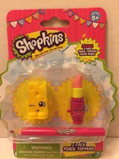 SHOPKINS Pencil Toppers SCHOOL SUPPLIES Chee Zee Lippy Lips NIP #Moose