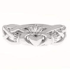 So gorgeous! But woah the price :/. Irish Claddagh Wedding Band Set In White Gold For by gemologica, $295.00