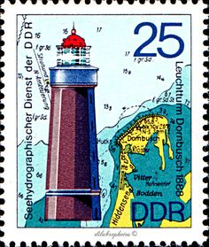 German Democratic Republic.  LIGHTHOUSES TYPE OF 1974.  HYDROGRAPHIC SERVICE OF GDR. LIGHTHOUSES, MAPS & NAUTICAL CHARTS, DORNBUSH.  Scott 1648 A478, Issued 1975 May 13, Litho., Perf. 14,  25.  /ldb.  (MINT)