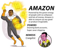 "I dont know if Amazon is my hero or my nemesis.  Either way it drains my bank account AND gives me that darned free 2 day shipping.   ""The Internet Justice League"" by Caldwell Tanner - CollegeHumor Article"
