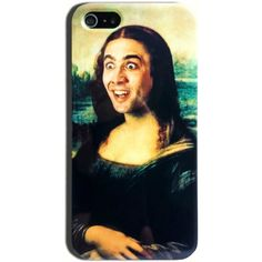 Nicolas Cage Mona Lisa Funny Meme Hard Case iPhone 4 4s, 5/5s, 5c,... ($13) ❤ liked on Polyvore