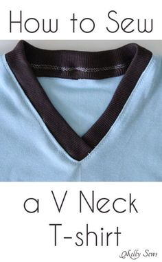 How to Sew a V Neck T-shirt - Melly Sews - Video AND photo tutorial!