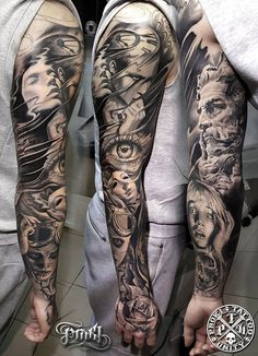 36 Perfect Sleeve Tattoos for Guys With Style Blackwork Full Sleeve Tattoo by Kostas Baronis Proki Best Sleeve Tattoos, Sleeve Tattoos For Women, Arm Tattoos, Tattoos For Guys, Cool Tattoos, Beautiful Tattoos, Brust Tattoo, Tattoos Geometric, Black And White Face