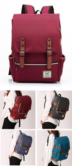 Which color do you like? Vintage Canvas Travel Backpack Leisure Backpack&Schoolbag #school #backpack #leisure #travel #canvas #bag #rucksack
