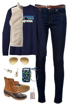 """""""Outdoors-ish"""" by classically-preppy ❤ liked on Polyvore featuring J Brand, Lauren Ralph Lauren, Essie, Patagonia, L.L.Bean, Vera Bradley, Ray-Ban and J.Crew"""