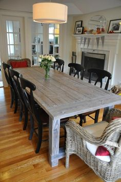 Farmhouse table plans & ideas find and save about dining room tables . See more ideas about Farmhouse kitchen plans, farmhouse table and DIY dining table White Farmhouse Table, Farmhouse Table Plans, White Farmhouse Kitchens, Farmhouse Kitchen Tables, Farmhouse Style, Rustic Table, Rustic Farmhouse, Homemade Kitchen Tables, White Wash Table