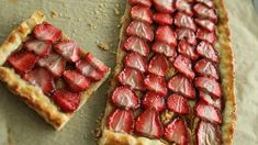 This galette is topped with strawberries and a sweet mascarpone spread.