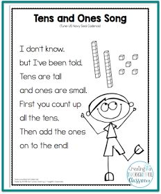Teaching Place Value, Tens and Ones Song Ideas for inquiry-based teaching and implementing the PYP. Math and literacy resources for the primary classroom. Preschool Math, Math Classroom, Kindergarten Math, Fun Math, Teaching Math, Math Activities, Math Games, Classroom Decor, Primary Teaching