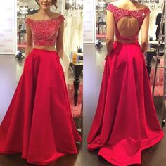 Red Prom Dresses,2 Piece Prom Dress