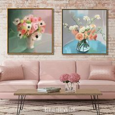 Dreamy, feminine modern vintage wall art in shades of pink, coral, aqua and green by Beverly Brown. Available on canvas & fine paper with custom framing. Floral Artwork, Floral Wall Art, Floral Paintings, Vintage Art Prints, Vintage Wall Art, Art Deco Clothing, Art Deco Bar, Wall Art Sets, Hanging Art