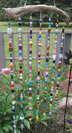 This beaded_suncatcher 3 is just one of the custom, handmade pieces you'll find in our suncatchers shops. Recycled Garden Art, Recycled Crafts, Bead Crafts, Fun Crafts, Diy Projects To Try, Craft Projects, Junk Gypsies Decor, Beer Cap Art, Outdoor Crafts