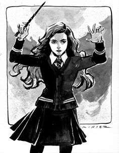 Hermione Granger : Inktober Day 4  by aaronminier  Friendship is magic.