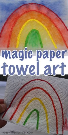 Paper Towel Art – Is it magic or science? Paper Towel Art – Is it magic or science?,Spring Crafts for Kids Magic paper towel art and science experiment. A fun spring rainbow activity for. Rainbow Activities, Craft Activities For Kids, Preschool Activities, Rainbow Learning, Rainbow Crafts, Educational Activities, Summer Activities, Rainbow For Kids, Weather Activities