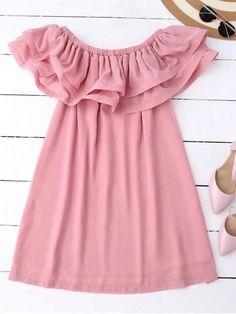 Ruffled Off Shoulder Chiffon Dress PinkShop chiffon dresses for women online, you can get white, black, and long chiffon dresses in fashion style on ZAFUL. Sexy Dresses, Fashion Dresses, Summer Dresses, Mini Dresses, Pink Dress Casual, Casual Dresses, Dresses Kids Girl, Girl Outfits, Pink Chiffon Dress