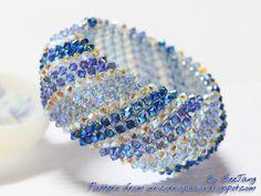 Capricho in Blue photo by BeeJang - Piratchada Beaded Bracelets Tutorial, Beaded Bracelet Patterns, Earring Tutorial, Seed Bead Bracelets, Pearl Bracelet, Swarovski Jewelry, Bead Weaving, Jewelery, Jewelry Design