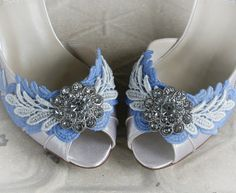 SOMETHING BLUE vintage lace shabby chic peep toe bridal shoes with low heel, wedding shoes, made to order sizes 5 - 11, 12