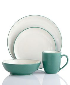 Noritake Dinnerware, Colorwave Turquoise Coupe 4 Piece Place Setting - Casual Dining - Kitchen - Macy's